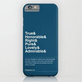 Philippians 4:8 (Blue Version) iPhone Case