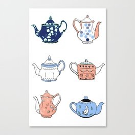 Vintage teapots in pink and blue Canvas Print