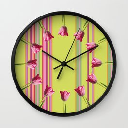 Striped summer meadow with tulips Wall Clock