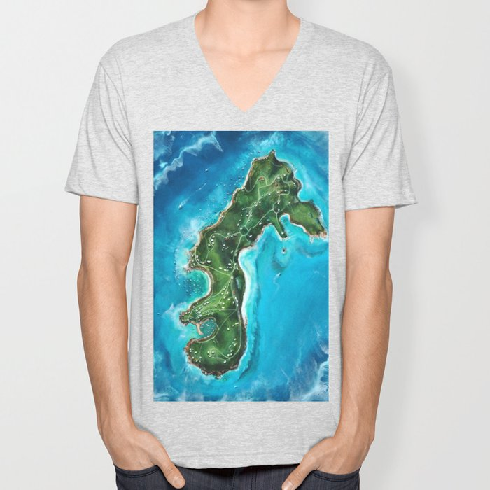 Water Island Map Unisex V-Neck