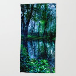 Enchanted Forest Lake Green Blue Beach Towel