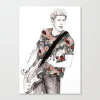 niall Canvas Prints featuring Floral Niall by Coconut Wishes