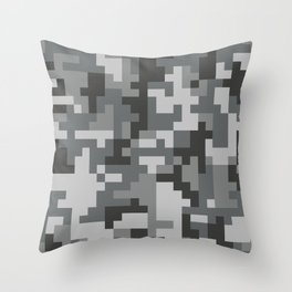 Grey Urban Pixel Camo pattern Throw Pillow