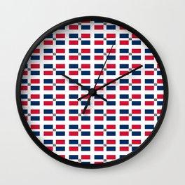 flag of the dominican republic 2-dominican,hispaniola,dominicana,antilles,caribean,santo domingo Wall Clock