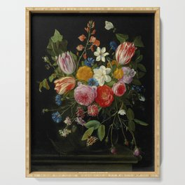 """Jan van Kessel de Oude """"Tulips, peonies, chicory, carnations, cherry blossom and other flowers"""" Serving Tray"""