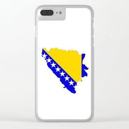 bosnia herzegovina flag map Clear iPhone Case