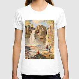 Mid Century Modern Vintage Travel Poster England Landscape Rocky Waterfall T-shirt
