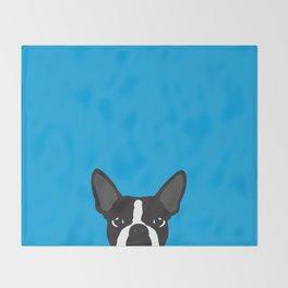 Boston Terrier Blue Throw Blanket