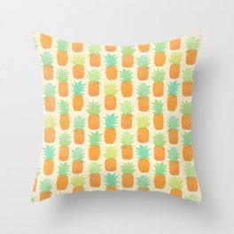 Watercolor Pineapples Throw Pillow