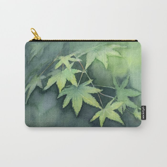 Japanese Maple Watercolor Green Leaves Tree Branch Nature Carry-All Pouch