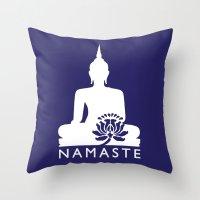 namaste Throw Pillows featuring Namaste by AleDan