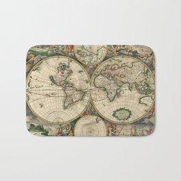 1689 Map of the World by Gerard van Schagen Bath Mat