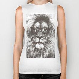 Lion in glasses Biker Tank