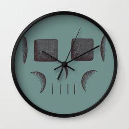 Skull Linework (Black / Teal) Wall Clock