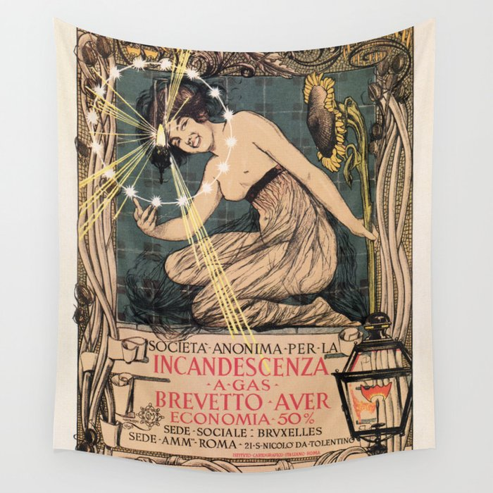 Italian art nouveau street gas lighting ad Wall Tapestry