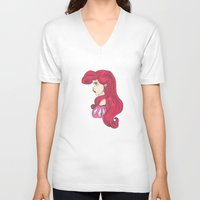 ariel V-neck T-shirts featuring Ariel.  by Nic Moore