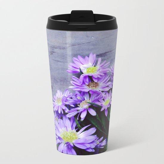 Pretty Blue Flowers Metal Travel Mug