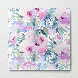 Pastel watercolors flowers pattern Metal Print
