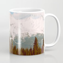 Vintage Landscape Photography Green Pine Forest Snow Mountain Pastel Blue Sky Coffee Mug