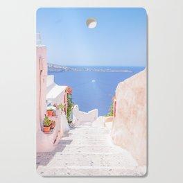 Santorini Greece Mamma Mia pink street travel photography Cutting Board