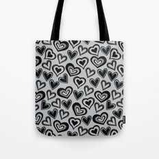 MESSY HEARTS: BLACK GRAY Tote Bag
