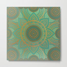 """Sea Turquoise Pattern Mandala (Teal & Gold)"" Metal Print"