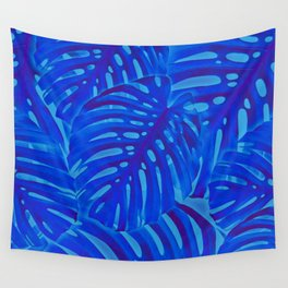 Blue Monstera Plant Wall Tapestry