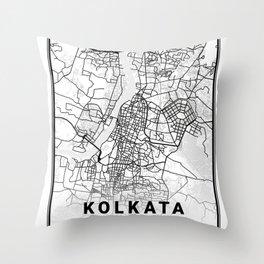 Kolkata Light City Map Throw Pillow