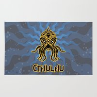 return Area & Throw Rugs featuring Cthulhu return by Enrique Valles