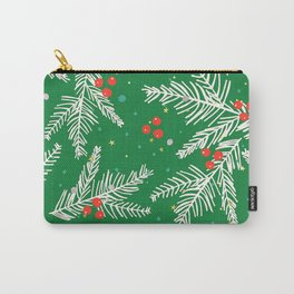 Christmas Snow-Covered Pine Tree Branches Seamless Pattern Carry-All Pouch