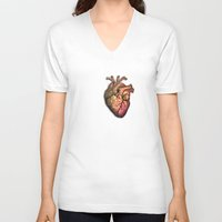 anatomical heart V-neck T-shirts featuring Anatomical heART by Li9z