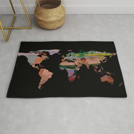 World Map Silhouette - Undressing at The Beach (blk) Rug