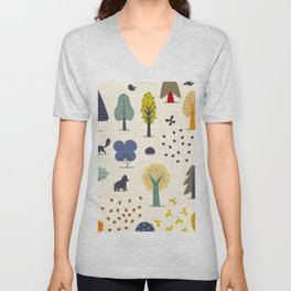autumn trees Unisex V-Neck