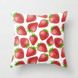 Strawberries watercolor pattern Throw Pillow