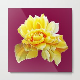 Burgundy Color Yellow Rose Flower Art Design Pattern Abstract Art Garden Metal Print