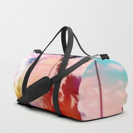 palm tree with sunset sky and light bokeh abstract background Duffle Bag