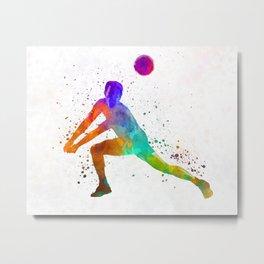 Volley ball player man 03 in watercolor Metal Print