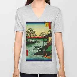 Mokubo Temple on Uchi River Japan Unisex V-Neck