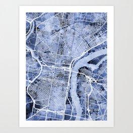Philadelphia Pennsylvania City Street Map Art Print