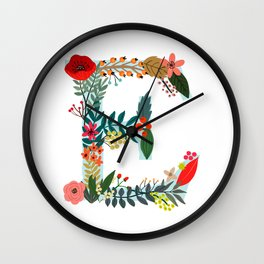 Monogram E Floral letter Wall Clock