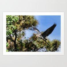 Blue Heron in the Trees Oil Art Print