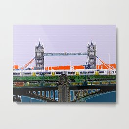 London Tower bridge & tube pop artwok, England photogrphy, mind the gap Metal Print