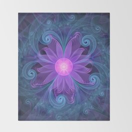 Blown Glass Flower of an ElectricBlue Fractal Iris Throw Blanket