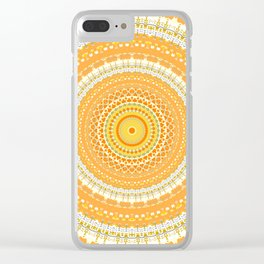 Marigold Orange Mandala Design Clear iPhone Case