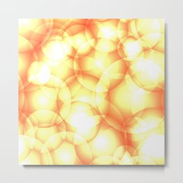 Gentle intersecting golden translucent circles in pastel colors with glow. Metal Print