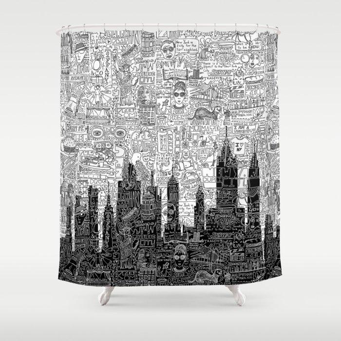 New York Doodle Shower Curtain by nele_vdm   Society6