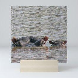 Hippo mom and baby photo Mini Art Print