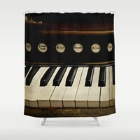 antique Shower Curtains featuring Antique organ by semi sweet studios