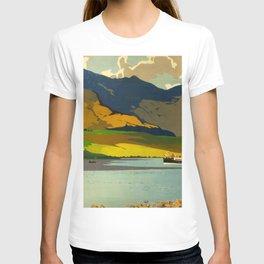 Loch Awe Vintage Mid Century Art Travel Poster British Railways Colorful Landscape T-shirt