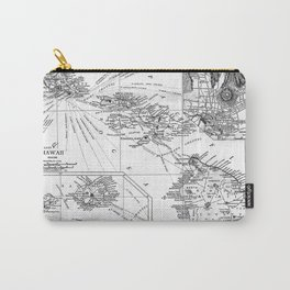 Vintage Map of Hawaii (1912) BW Carry-All Pouch